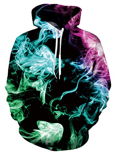 (UNIFACO Teen Boy Girl Smoke Sweatshirt 3D Print Psychedelic Cool Graphic Pullover Hoodie)