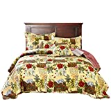 Tache Festive Floral Reversible Bedspread - The Holly and The Ivy Poinsettia Patchwork Quilted Coverlet Bedding Set - Bright Vibrant Multi Colorful Beige Red Green Poinsettia Print - King - 3-Pieces