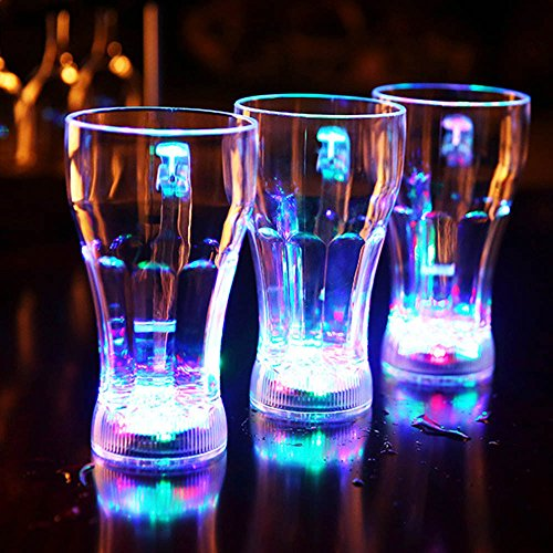 Ireav 3PCS Creative LED Light Flashing Cup Wedding Decorate Champagne Beer Luminous Cups Water Sensor Drinkware for Party Bars Wedding (Bar Drinkware)