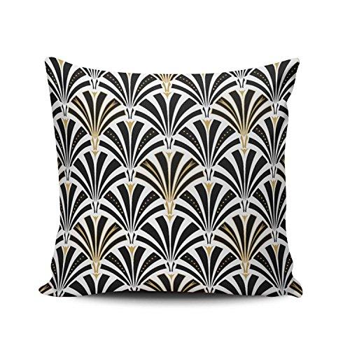 (Lerana Custom Fashion Home Decor Square Pillowcase Black and White Art Deco Fan Pattern Throw Pillow Cover Cushion Case Zippered One Side Printed 20x20 Inches)