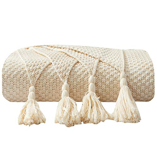 DOMIKING 100% Cotton Knitted Throws and Blankets for Sofa Couch Bed Multiple Used Special Tassels Blanket Lightweight Cream Throw Four-Season Use,51