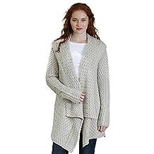 Glenross 100% Irish Merino Wool Ladies Aran Waterfall Sweater