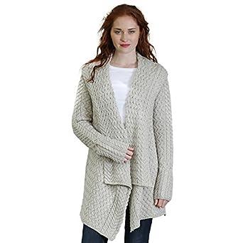 Glenross 100% Irish Merino Wool Ladies Aran Waterfall Sweater at ...