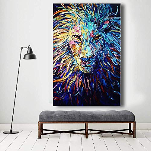 Orlco Art Hand-Painted Abstract Navy Blue Lion Oil Painting Abstract Art Animal Oil on Canvas Palette Knife Heavy Textured