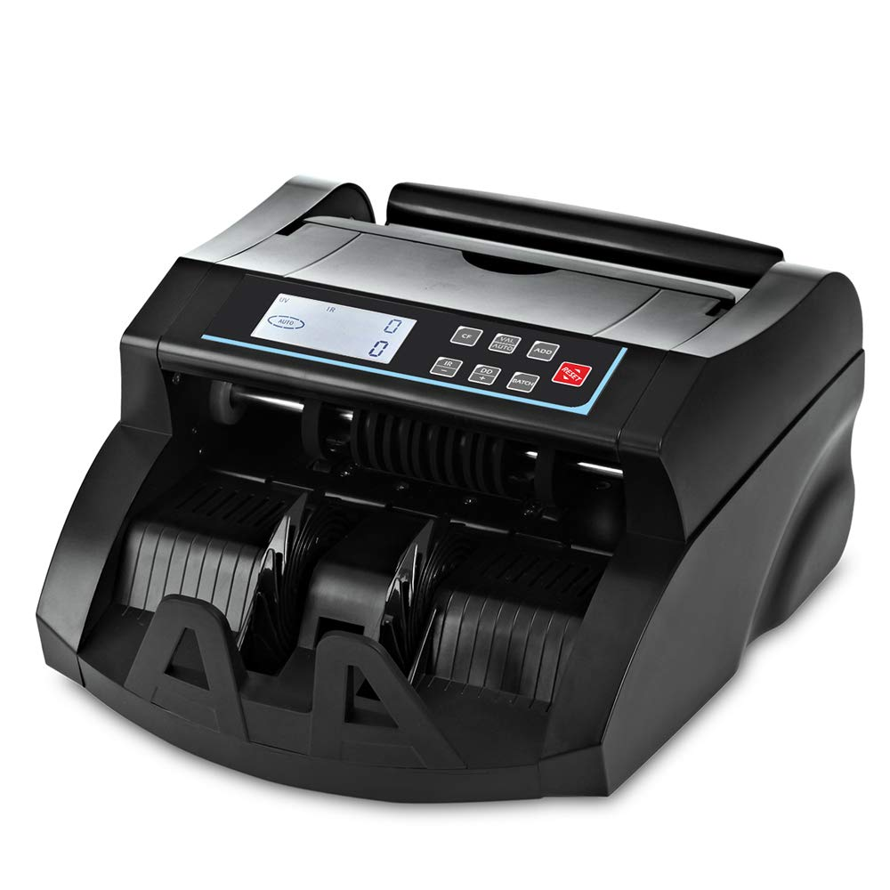 Money Counter DOMENS UV/MG Counterfeit Bill Detection Cash Counting Machine US Dollar Currency Banknote Counter Selected Single Denomination to Calculate The Total Monetary Value(Black) by DOMENS