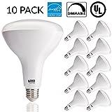 feit led bulb 100w - Sunco Lighting 10 PACK - BR40 LED 17WATT (100W Equivalent), 4000K Cool White, DIMMABLE, Indoor/Outdoor Lighting, 1400 Lumens, Flood Light Bulb- UL & ENERGY STAR LISTED