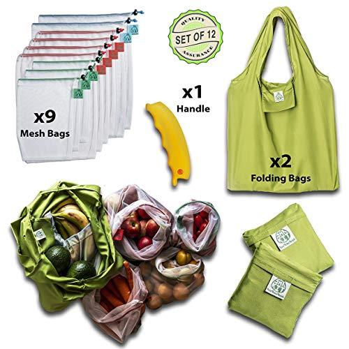 Reusable Produce Bags-Reusable grocery Bags-Set of 12 PCS, Foldable tote w/Bonus Silicon Handle, Premium See-through Bag, Zero Waste Eco-Friendly products, reusable mesh produce, Mesh vegetable bag
