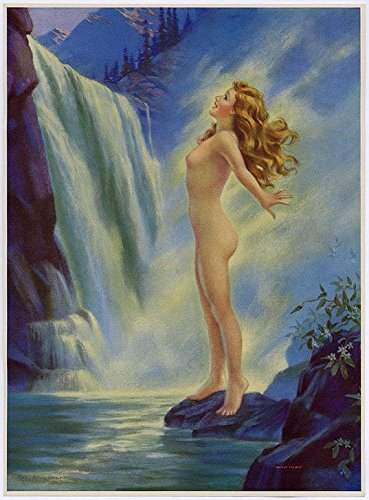 Vintage 1930s Original Mabel Rollins Harris Antique Art Deco Water Nymph Calendar Art Pin-Up Print Lithograph Titled Maid of the (1930 Lithograph)