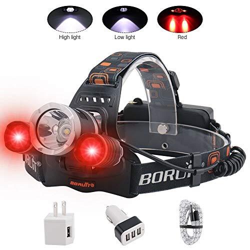 BORUIT LED Headlamp - Ultra Bright 5000 Lumens