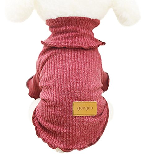 Dog Sweater,Axchongery Classic Pet Knitwear Coat Solid Puppy Ribbon Apparel Small Dog Clothes (red, xs) (Dog Sweater Polyester)