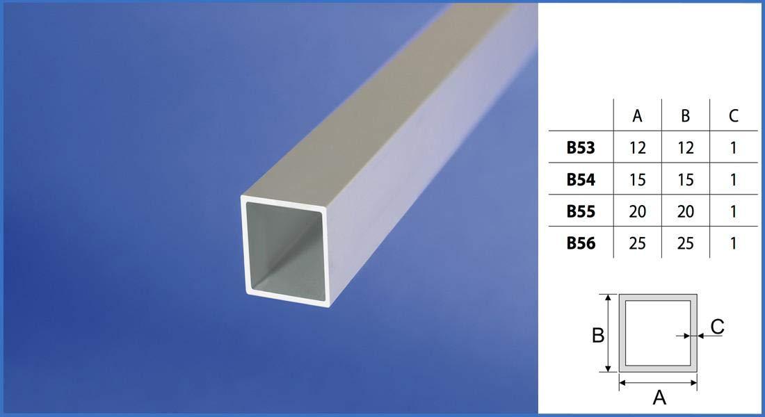 Effector 2 Meter Alu belastbar Vierkantrohr eloxiert 15x15mm silber B54