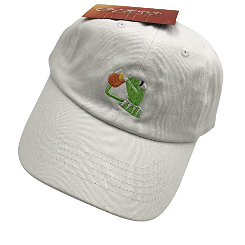 db73323707385 Kermit The Frog Dad Hat Baseball Cap Sipping Sips Drinking Tea Champion  Adjustable White