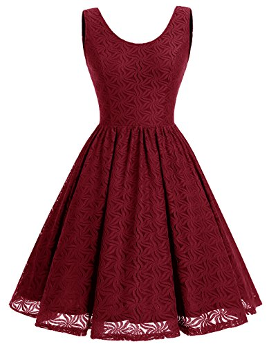 ALAGIRLS Women Floral Lace Bridesmaid Party Dress Short Prom Dress V Back DarkRed L