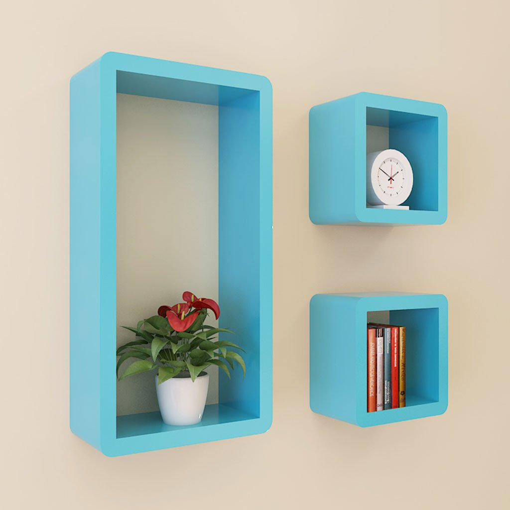Wall Shelf Wall-mounted Creative Lattice Living Room Shelf Wall Partition TV Background Wall Decoration Rectangle Green Blue Black (Color : Blue)
