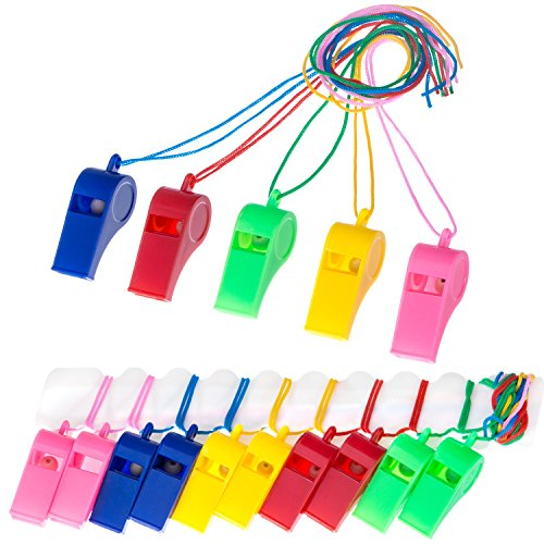 Mudder 40 Pieces Plastic Whistles with Lanyards for Party Sports, 5 Colors]()