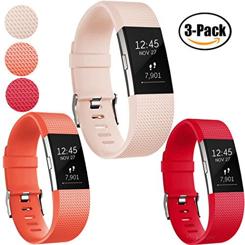 Replacement Bands for Fitbit Charge 2, Fitbit Charge2 Wristbands,Small,Blushpink,Red,Tangerine