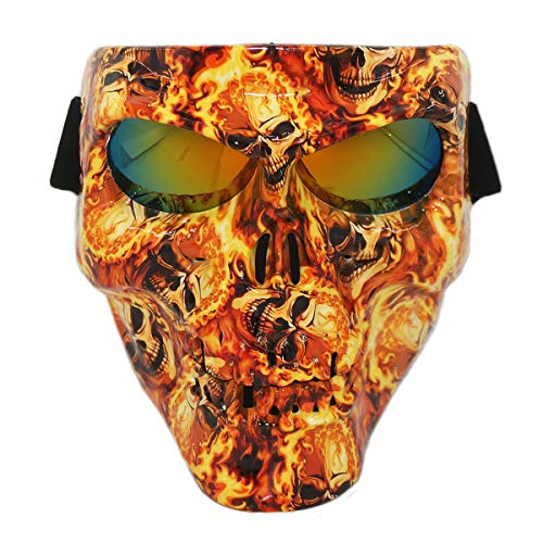 Vhccirt Protective Mask Skull/Zombie/Reaper Face Airsoft/Paintball/Motorcycle Racing Helmet Mask Halloween Spooky DecorCosplay Mask Burning Skull Yellow Lenses