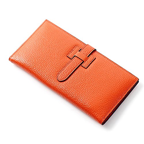 MuLier Leather Wallet Women Slim Clutch Purse Long Designer Ladies Credit Card Holder Organizer (Orange) by MuLier