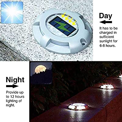 Solar Deck Lights, Solar Powered Dock and Driveway Path Lights, Waterproof with No Wiring Required for Outdoor Pathway Garden Ground Yard Step Sidewalk Stair