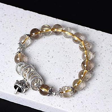 FUKAI Simple Pulsera Natural De Plata Esterlina 925 para Mujeres Cuentas De Cuarzo De Cristal Rubio Dorado con Fortune Cat Hand String Bling Gift