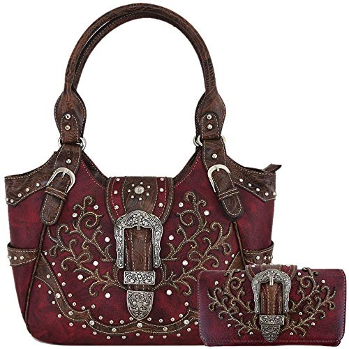 (Western Style Tooled Leather Buckle Concealed Carry Purse Country Handbag Women Shoulder Bag Wallet Set (Red Set))