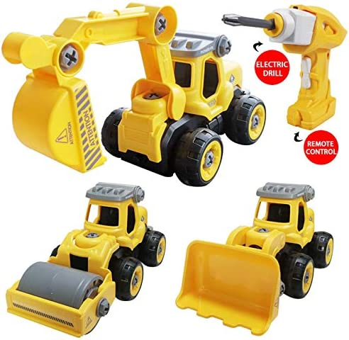 SZJJX 3 in 1 Construction Truck Take Apart Toys with Electric Drill, Converts to Remote Control Car, Kids DIY Stem Learning Building Toy, Gifts Toys for 3,4,5,6,7 Year Old Boys