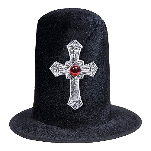 Halloween Fancy Dress Vampire Hunter Velvet Top Hat With Silver Cross Uk]()