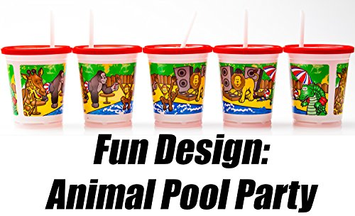Spill Minimizing Kids Party Cups: Jungle Animals, 12 Pack with Lids & Straws. Dishwasher Safe. Water-Tight Lid. Great Disposable Sippy Drink for Children's Birthday Parties & Sleepovers
