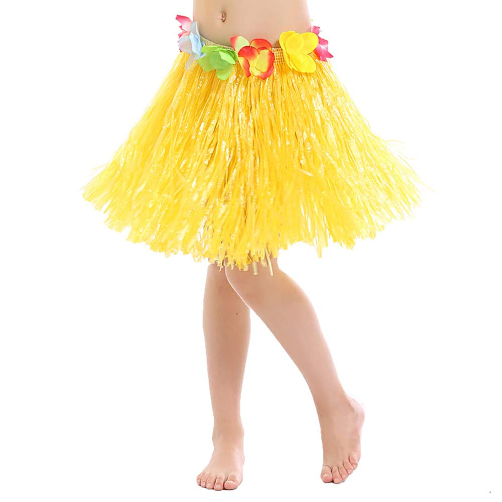 Tcplyn Premium Quality Short Hawaiian Grass Hula Skirt Luau with Flowers Fancy Dress Costume Accessory Yellow