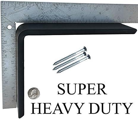2 Pack White Heavy Duty Black Steel 6 x 8 Countertop Support Brackets