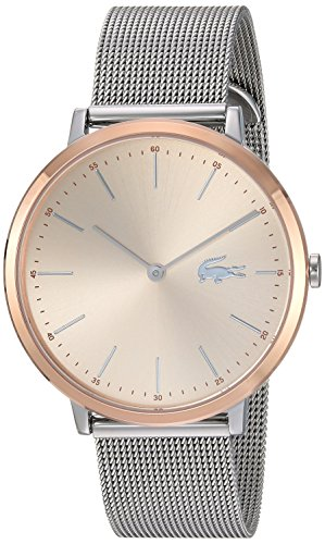 Lacoste Women's Moon Ultra Slim Silver and Gold Quartz Watch with Stainless-Steel Strap, 16 (Model: 2001002