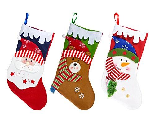 London Red Heart Charm (eSay Christmas Stockings 3 Pcs, Santa Stocking Holder, Party Decorations, Holiday Decor, Gift Holder, Large)