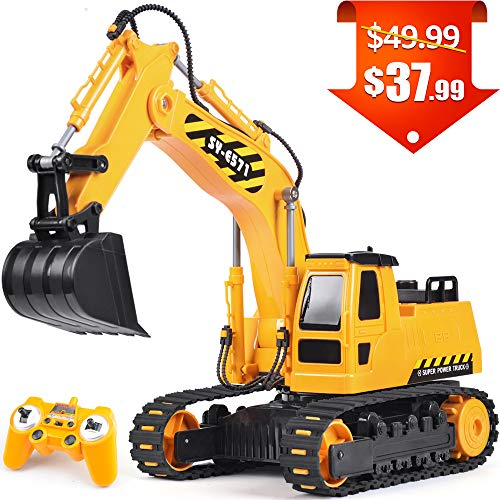 (DOUBLE E Remote Control Excavator Toy Truck 1/26 with Rechargeable Battery Simulated Sounds 2.4GHz Construction Vehicles Truck)
