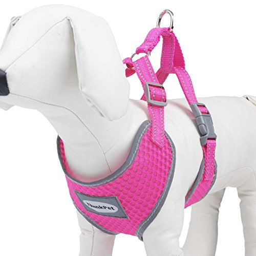 ThinkPet Reflective Breathable Soft Air Mesh Puppy Dog Vest Harness Neon Rosary Neck 19-23.5/Chest 20-28