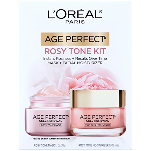 L'Oreal Paris Skin Care Giftable Kit with Age Perfect Favorites Rosy Tone Face Moisturizer & Face Mask, 1 Kit