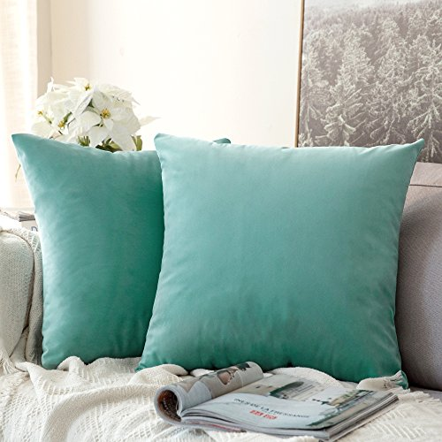 MIULEE Pack of 2 Velvet Pillow Covers Decorative Square Pillowcase Soft Solid Cushion Case for Sofa Bedroom Car 12 x 12 Inch Aqua Green