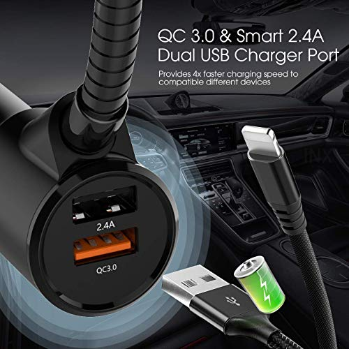 in-Car Bluetooth FM Transmitter Wireless Radio Adapter Hands-Free Car Kit with 1.44 Inches Display TF Card Mp3 Player Dual USB Ports AUX Input/Output Voltmeter Function for Smart Phones Audio Players by JFONG (Image #5)