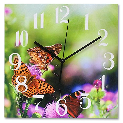 Wall Clock - Decorative Butterfly Clock - Canvas Printed Floral Background on a Wood Frame - Decorative Wall Clocks - Butterfly Decorations - 12x12 Inch square
