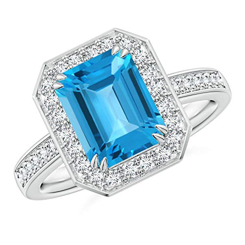 Emerald-Cut Swiss Blue Topaz Engagement Ring with Diamonds in Platinum (9x7mm Swiss Blue Topaz) -