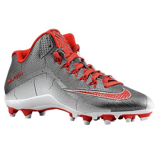 buy online be2f8 02802 NIKE Mens Alpha Pro 2 34 TD Football Cleats (10.5 M US, Metallic Dark Grey WhiteUniversity Red)