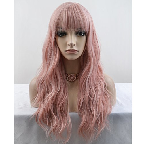 BERON 23'' Women Girls Lovely Synthetic Mix Color Long Curly Wigs Pin Curls with Neat Bangs Hairnet Included (Lovely Pink)
