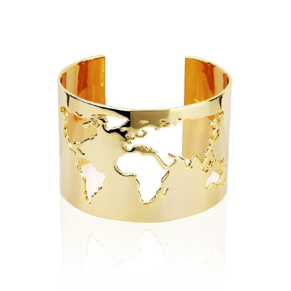 sksu Amazing Handmade Travel Cuff Bangle Bracelet with World Map Cutting - Yellow Gold Plating Fashion Jewelry Accessory