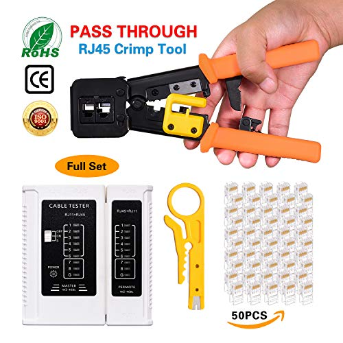 RJ45 Crimping Tool Kit,Crimp Tool(Orange) with 1 Network Wire Stripper, 1 Cable Tester and 50 Pack RJ45 Cat6 Connectors, Professional Computer Maintenacnce LAN Cable Tester Network Repair Tool Set (Network Tool Set)