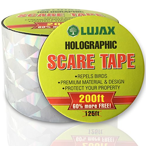 Scare Tape (Bird Repellent Scare Tape with Free Bonus - Shiny Bird Deterrent tape to safely Scare Birds Away - Amazing Woodpecker Deterrent - 200 Ft. roll with 100%)