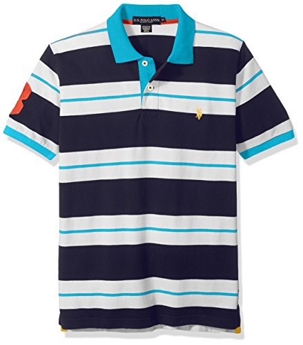 U.S. Polo Assn.. Men's Classic Fit Striped Pique Shirt, Stripe Pattern 1/Surf Blue, Small - Classic Surf Collection