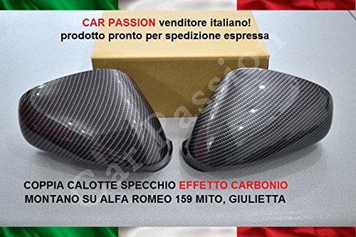 COPPIA CALOTTE SPECCHIO CARBON LOOK NUOVE COPRISPECCHI RETROVISORI EFFETTO CARBONIO car passion