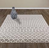 "DIAGONA DESIGNS Contemporary Moroccan Trellis Design  Area Rug, Gray /Ivory, 94"" W x 118"" L"