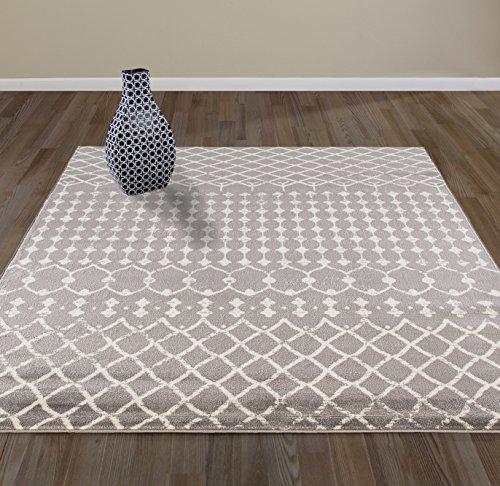 Cheap  DIAGONA DESIGNS Contemporary Moroccan Trellis Design Area Rug, Gray/Ivory, 63