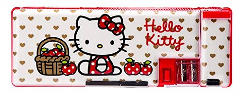GlobalEdge Hello Kitty School Pencil Box Magnetic Case Two Sided Multi-Use with Sharpener RED Apple
