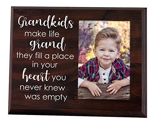 Elegant Signs Grandkids Make Life Grand 4x6 Photo Holder - Grandma Gifts - Grandparents Picture Frame